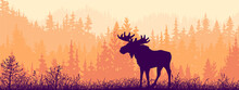 Horizontal Banner. Silhouette Of Moose Standing On Meadow In Forrest. Silhouette Of Animal, Trees, Grass. Magical Misty Landscape, Fog. Orange, Black And Pink Illustration. Bookmark.