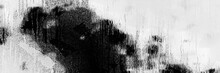 Smear Black White On Vintage Rainy Drop Background, Grunge Dark Monochrome Pattern. Old Vignette In Bubble Reflection Horizontal, Monochrome Ghost Silhouette Distressed Surface