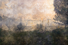 A Valley Covered In Thick Fog. Evening Fog Descends From The Mountains In The Background. Digital Watercolor Painting