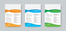 Corporate Business Flyer Template Layout With 3 Colorful Accents And Grayscale Image Masks