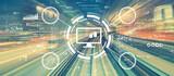 Fototapeta Kawa jest smaczna - Stock trading theme with abstract high speed technology POV motion blur