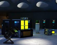 テレビ会議背景用 ZOOM会議背景用 CG 部屋 SF Sci-Fi 未来 研究開発 研究室 実験室 コンクリート打ち放し 機材  For Using In Video Conference And As A Zoom Background.