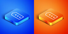Isometric Military Rank Icon Isolated On Blue And Orange Background. Military Badge Sign. Square Button. Vector