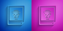 Paper Cut Photo Icon Isolated On Blue And Purple Background. Paper Art Style. Vector