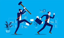 Angry Businessman Chasing Man With A Sledge Hammer. Business Revenge And Anger Concept. Vector Illustration