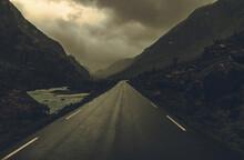 Driving Through Rainy Raw Norwegian Landscape