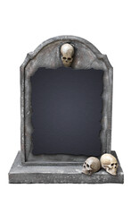Gravestone With Skull Isolated On White Background With Clipping Path