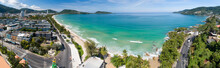 Aerial View Of Panorama Patong Bay At Phuket Island On September 17-2021 Beautiful Island In Thailand Amazing High Angle View Island Seashore With Blue Sky Cloudy Sky Background Travel Holiday Concept