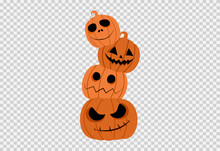 Halloween Party With Pile Of Pumpkins Isolated  On Png Or Transparent, Blank Space For Text,element Template For Poster,brochures,online Sale Marketing  Advertising,vector Illustration