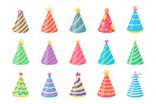 Vector Party Hat. Colorful Conical Hat For Wearing In The New Year's Party.