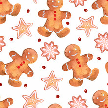 Gingerbread Pastry Watercolor Seamless Pattern Christmas Wallpaper