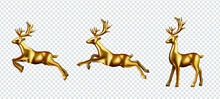 Golden Deer 3d Decoration For Christmas And New Year Design Vector