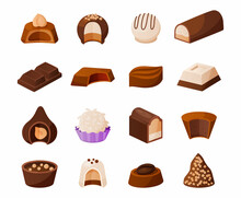 Cartoon Chocolate Candies. Sweet Milk Cacao Desserts With Topping And Nuts. Delicious Confection Template. Glazed Sweets Assortment. Isolated Confectionery Set. Vector Gourmet Treats