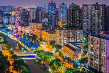 Chengdu City High Building Night