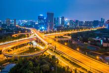 Chengdu City Cross Highway Bridge Night