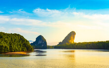 Landscape View Of Khao Khanap Nam With Golden Sunlight Shining On Water And Mangrove Forest On Day With Bright Blue Sky And Good Weather In Morning At Krabi, Thailand. Idea: Beautiful Mountain.