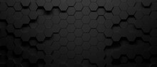 Abstract Octagons Dark 3d Background. Black Geometric Background For Design. 3d
