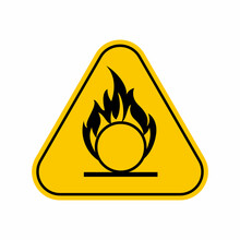 Oxidizing Hazard Warning Sign , Yellow Triangle Caution Symbol, Isolated On White Background, Vector Icon