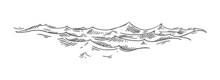 Sea Waves. Vintage Vector Engrave Black Illustration. Isolated On White