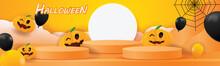 Podium Happy Halloween Vector Illustation Pumpkin Orange Backgroung Stand Scene For Product