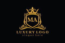 Initial MA Letter Royal Luxury Logo Template In Vector Art For Restaurant, Royalty, Boutique, Cafe, Hotel, Heraldic, Jewelry, Fashion And Other Vector Illustration.