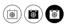 Calendar Winter Snow Month, Snoflake Date Day Of Month Icon Button, Vector, Sign, Symbol, Logo, Illustration, Editable Stroke, Flat Design Style Isolated On White