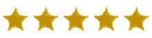 Five Golden Star. Rank, Customer Product Rating, Feedback, Award, Premium Quality For Website And Mobile Apps. 3d Star Vector Illustration Isolated On White Background.