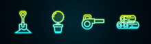 Set Line Shovel In The Ground, Flower Pot, Leaf Garden Blower And Wooden Logs. Glowing Neon Icon. Vector