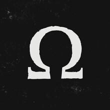 Omega Letter Symbol Isolated On Black Background. Logo Elements