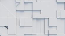 White 3D Blocks Form An Abstract Business Wallpaper. 3D Render .