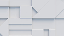 Various 3D Blocks Arranged To Create A Wall. White Futuristic Background .