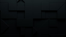 Collection Of Black 3D Blocks Neatly Organized To Make A Wall. Futuristic Background .
