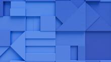 Various 3D Blocks Form A Wall. Blue Tech Background .