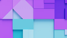 Turquoise And Purple 3D Blocks Neatly Organized To Make A Tech Abstract Background. 3D Render .