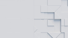 Collection Of White 3D Blocks Form A Wall. Tech Wallpaper With Copy-space.