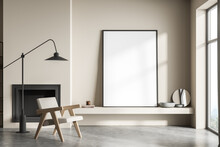 Standing Canvas Next To Beige Living Room Wall And Single Armchair