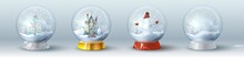 Christmas Crystal Snow Ball Set With Balls, Gift, Fur Tree And, Snowman And Famaly Home.
