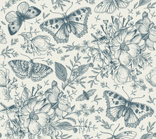 Seamless Pattern Flowers. Butterflies Moths Insect Fly Blooming Dogrose Rosehip Wild Rose Realistic Isolated. Vintage Fabric Background Set Wildflowers. Drawing Engraving Vector Victorian Illustration