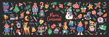Set Of Cute Merry Christmas And Happy New Year Illustrations Or Stickers. Festive Christmas Characters And Objects