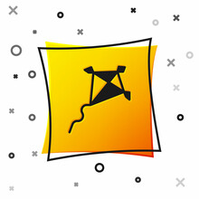 Black Kite Icon Isolated On White Background. Yellow Square Button. Vector