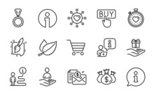 Line Icons Set. Included Icon As Painting Brush, Buying, Recruitment Signs. Dating Network, Loyalty Program, Market Sale Symbols. Heartbeat Timer, Check Investment, Medal. Info Line Icons. Vector