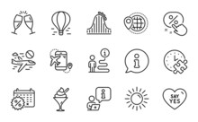 Holidays Icons Set. Included Icon As Puzzle Time, Ice Cream, Say Yes Signs. Flight Destination, World Travel, Roller Coaster Symbols. Air Balloon, Sun, Calendar Discounts. Discount Button. Vector