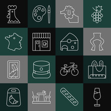 Set Line Wine Glass, French Baguette Bread, Frog Legs, Poodle Dog, Coffee Shop, Map France, Rooster And Cheese Icon. Vector