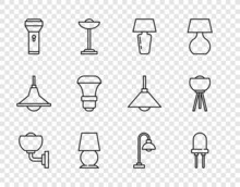 Set Line Wall Lamp Or Sconce, Light Emitting Diode, Table, Flashlight, LED Bulb, Floor And Icon. Vector
