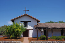 The Historic Spanish Mission In Sonoma Under California's Blue Summer Sky