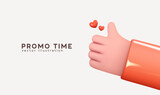 Hand symbol like approved and red heart love. Realistic 3d cartoon style design. Social media Creative concept idea. Vector illustration