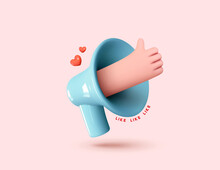 Social Media. Hand Symbol Like And Red Heart Love. Marketing Time Concept, Realistic 3d Blue Megaphone, Loudspeaker By Hand. Vector Illustration.