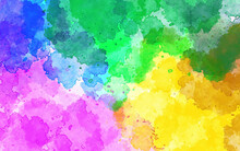 Abstract Multi Color Hand Painted Watercolor Background. Abstract Art Watercolor Background. Multicolored Bright Texture. Design For Backgrounds, Wallpapers, Covers And Packaging