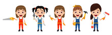 Happy Cute Kid Girl Construction Worker Engineer Characters Set Standing Together