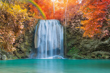 Wonder Waterfall In Deep Forest At Erawan Waterfall National Park.